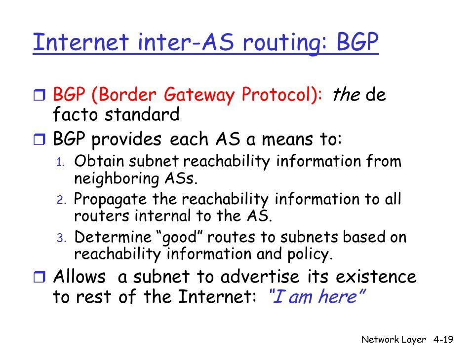 Network Layer4-19 Internet inter-AS routing: BGP r BGP (Border Gateway Protocol): the de facto standard r BGP provides each AS a means to: 1. Obtain s