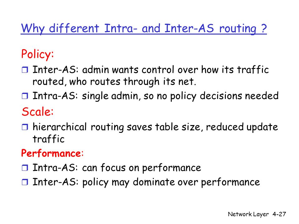 Network Layer4-27 Why different Intra- and Inter-AS routing ? Policy: r Inter-AS: admin wants control over how its traffic routed, who routes through