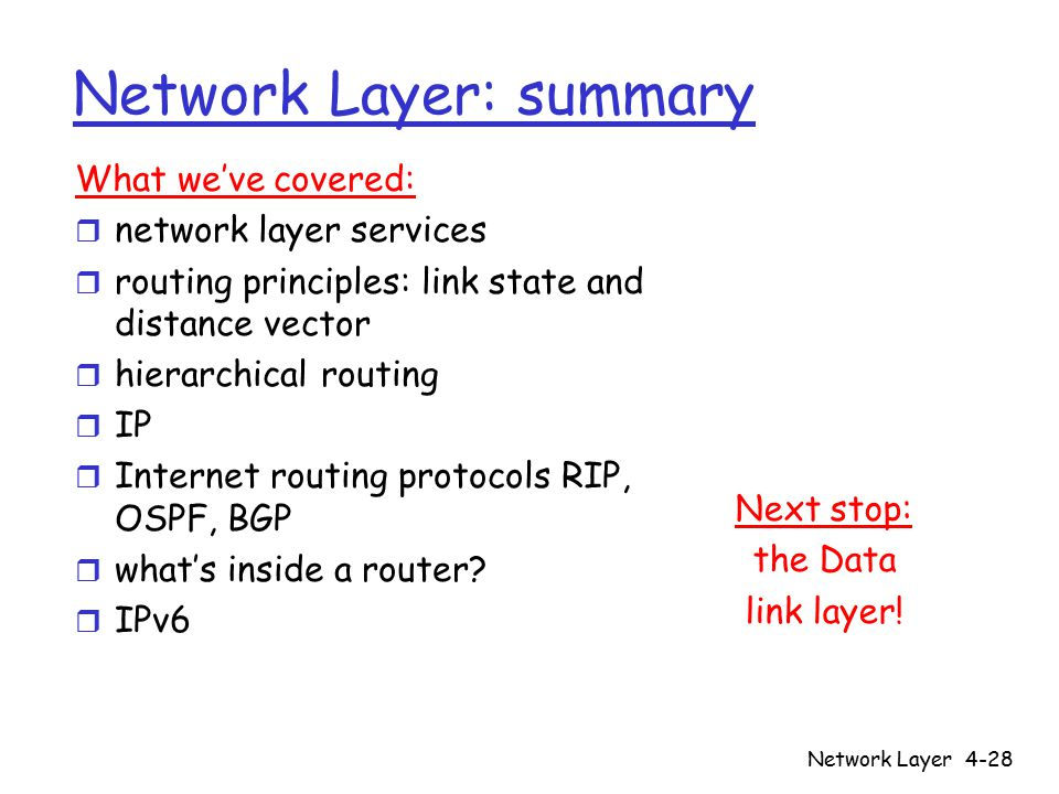 Network Layer4-28 Network Layer: summary Next stop: the Data link layer! What we've covered: r network layer services r routing principles: link state