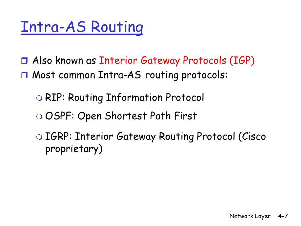 Network Layer4-7 Intra-AS Routing r Also known as Interior Gateway Protocols (IGP) r Most common Intra-AS routing protocols: m RIP: Routing Informatio