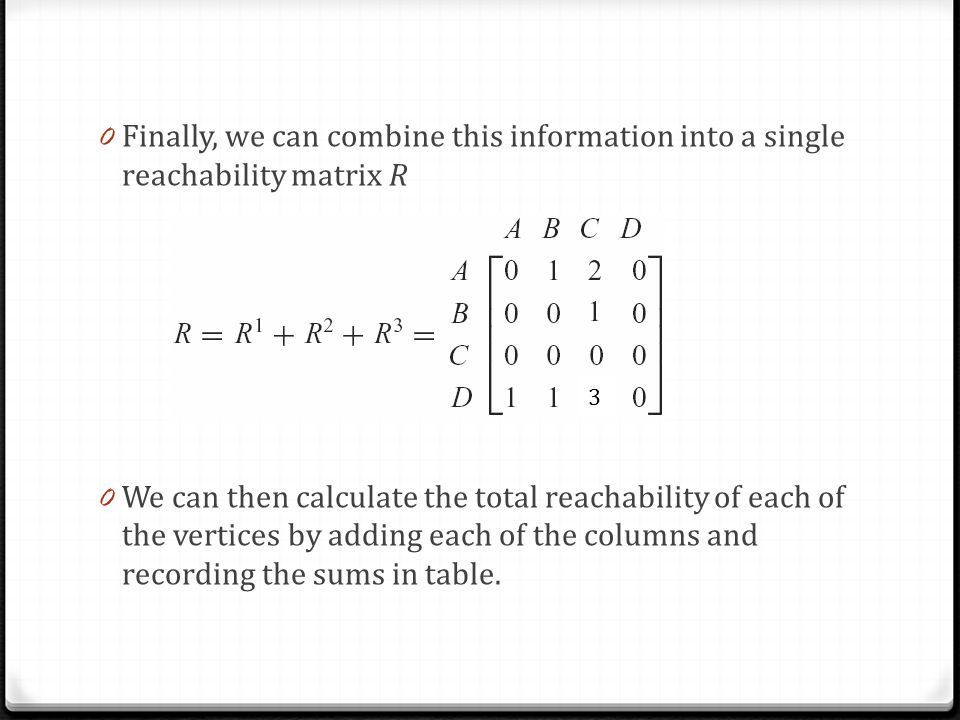 0 Finally, we can combine this information into a single reachability matrix R 0 We can then calculate the total reachability of each of the vertices by adding each of the columns and recording the sums in table.