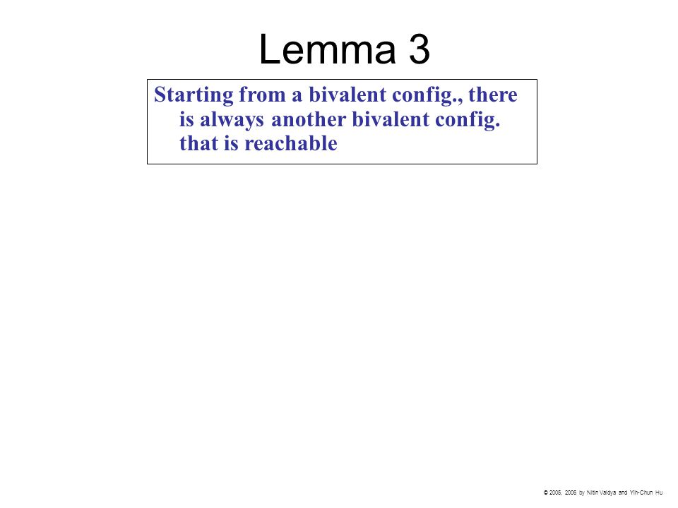 Lemma 3 Starting from a bivalent config., there is always another bivalent config.