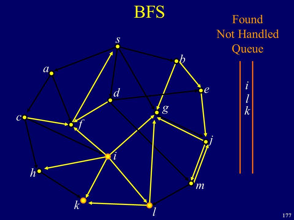 177 BFS s a c h k f i l m j e b g d Found Not Handled Queue i l k