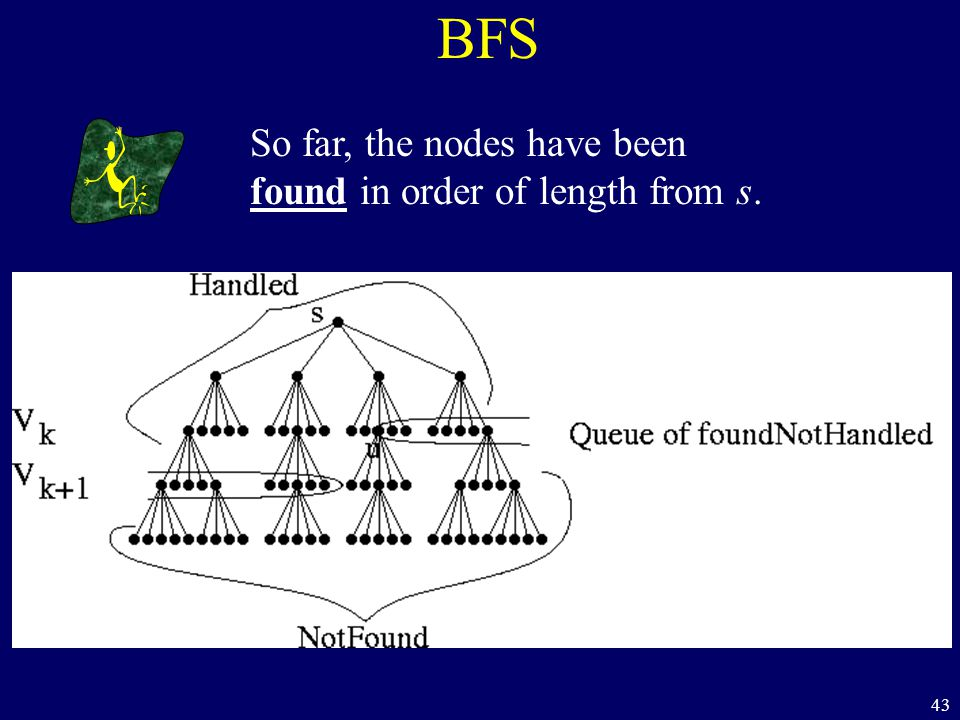 43 BFS So far, the nodes have been found in order of length from s.