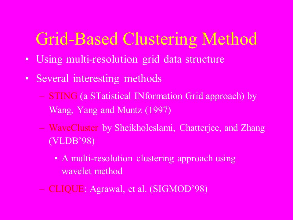 Grid-Based Clustering Method Using multi-resolution grid data structure Several interesting methods –STING (a STatistical INformation Grid approach) b