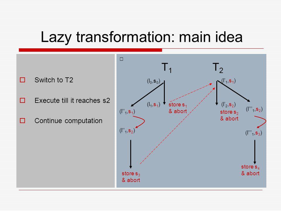 Lazy transformation: main idea  Switch to T2  Execute till it reaches s2  Continue computation (l 1,s 1 ) (l' 1,s 1 ) (l' 2,s 2 ) T1T1 (l 0,s 0 ) T