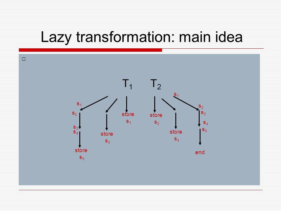 Lazy transformation: main idea T1T1 T2T2 store s 1 store s 2 store s 3 store s 4 store s 5 end s1s1 s2s2 s3s3 s4s4 s1s1 s2s2 s3s3 s4s4 s5s5