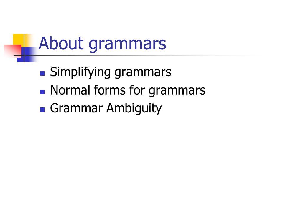 About grammars Simplifying grammars Normal forms for grammars Grammar Ambiguity