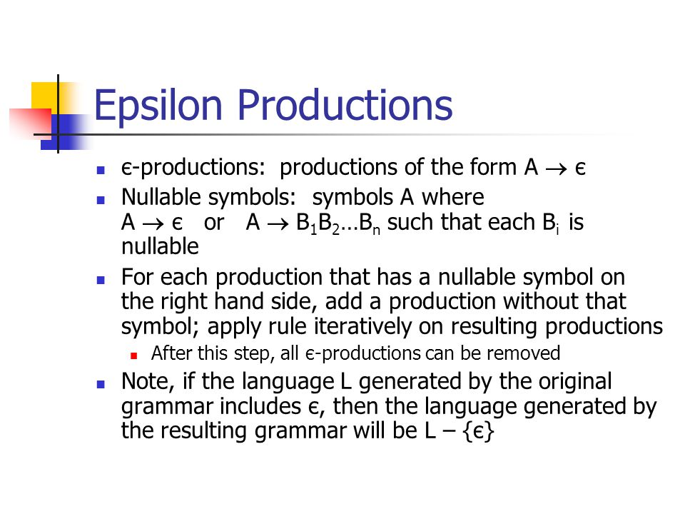 Epsilon Productions є-productions: productions of the form A  є Nullable symbols: symbols A where A  є or A  B 1 B 2 …B n such that each B i is nullable For each production that has a nullable symbol on the right hand side, add a production without that symbol; apply rule iteratively on resulting productions After this step, all є-productions can be removed Note, if the language L generated by the original grammar includes є, then the language generated by the resulting grammar will be L – {є}