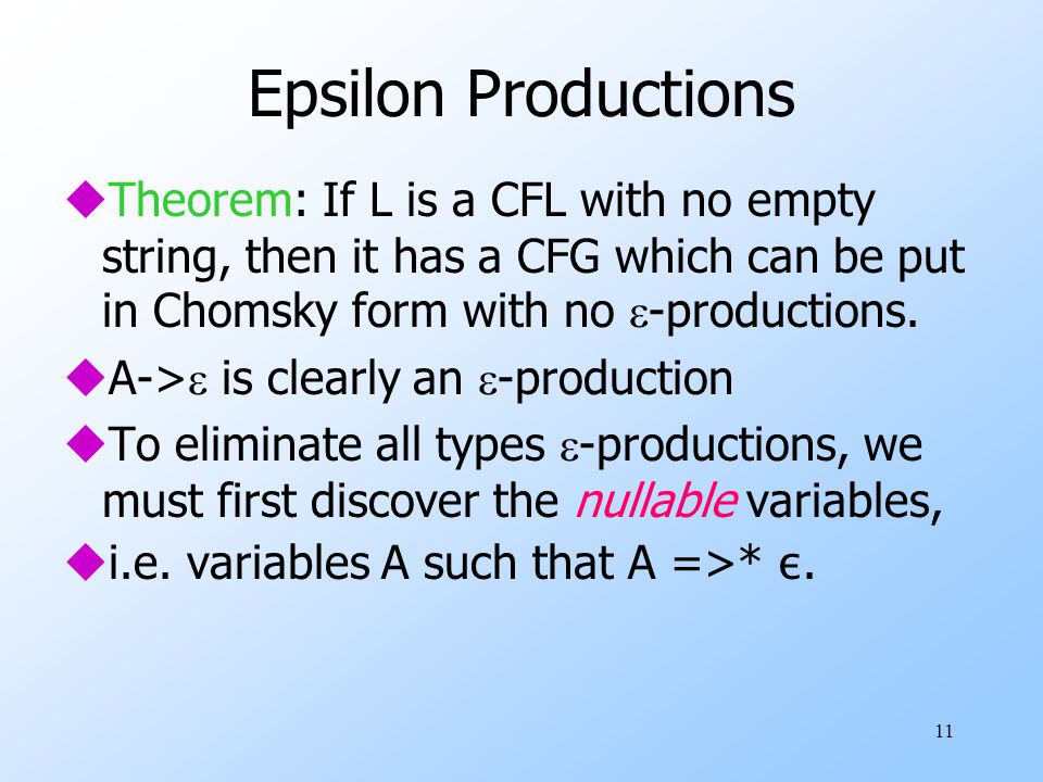 11 Epsilon Productions  Theorem: If L is a CFL with no empty string, then it has a CFG which can be put in Chomsky form with no  -productions.