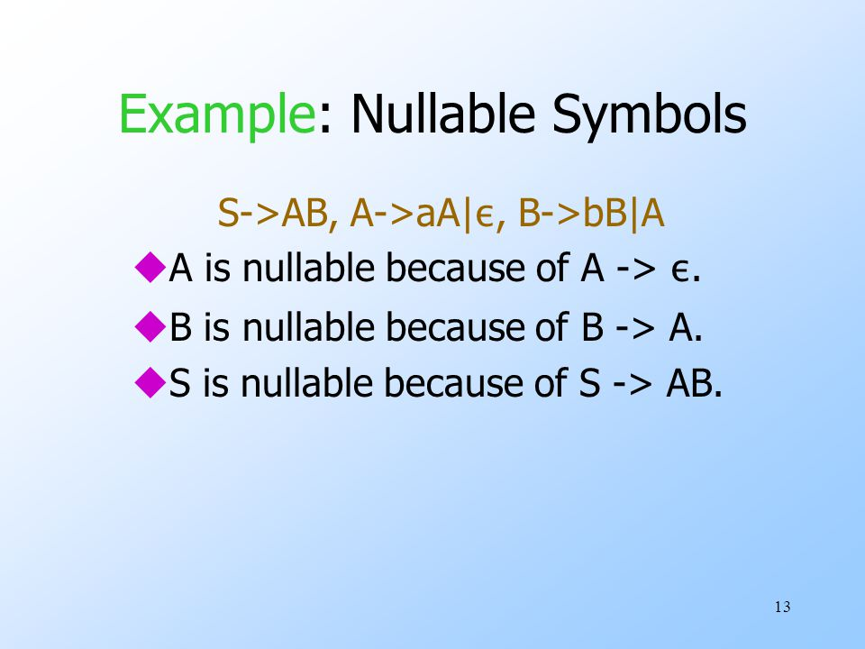13 Example: Nullable Symbols S->AB, A->aA| ε, B->bB|A  A is nullable because of A -> ε.