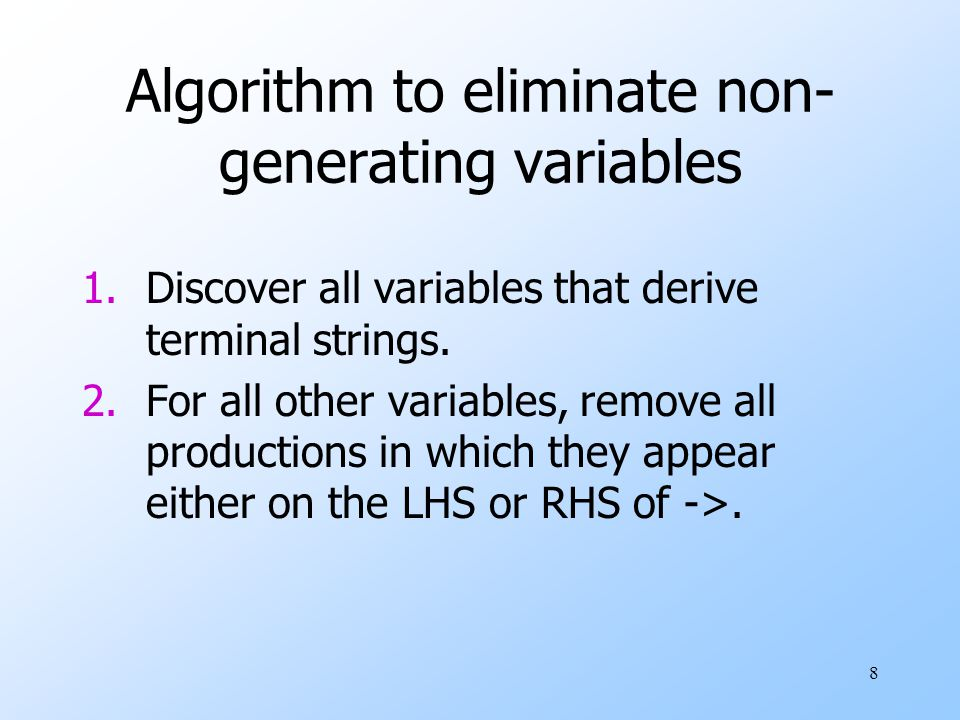8 Algorithm to eliminate non- generating variables 1.Discover all variables that derive terminal strings.