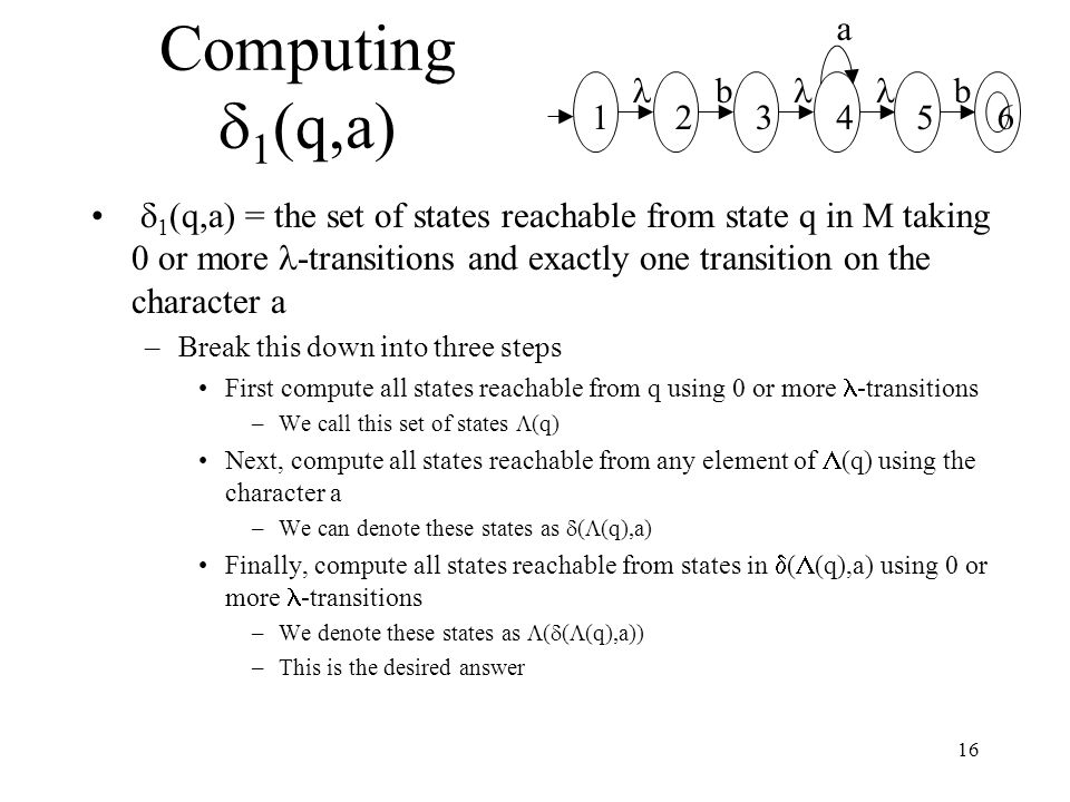 16 Computing  1 (q,a)  1 (q,a) = the set of states reachable from state q in M taking 0 or more -transitions and exactly one transition on the character a –Break this down into three steps First compute all states reachable from q using 0 or more -transitions –We call this set of states  (q) Next, compute all states reachable from any element of  (q) using the character a –We can denote these states as  (  (q),a) Finally, compute all states reachable from states in  (  (q),a) using 0 or more -transitions –We denote these states as  (  (  (q),a)) –This is the desired answer a bb 234561