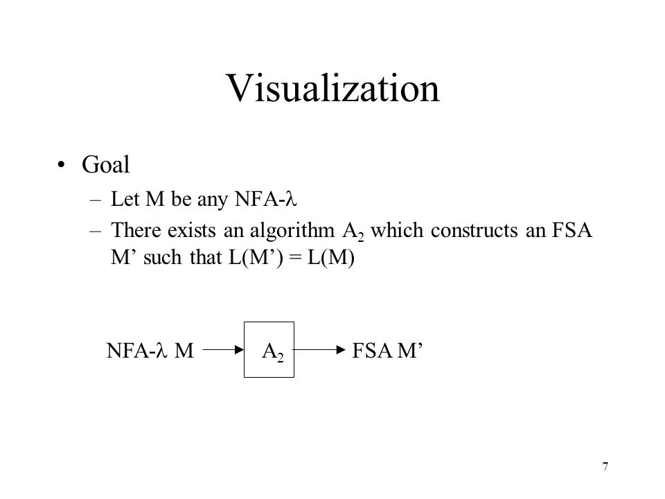 7 Visualization Goal –Let M be any NFA- –There exists an algorithm A 2 which constructs an FSA M' such that L(M') = L(M) NFA- M FSA M' A2A2