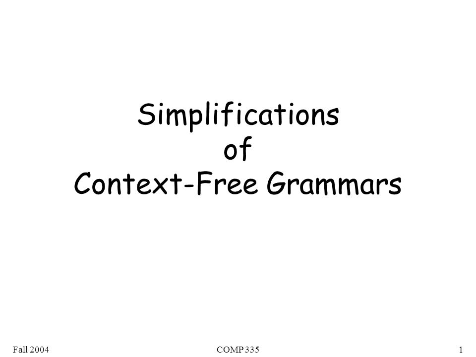 Fall 2004COMP 33542 Theorem: For any context-free grammar (which doesn't produce ) there is an equivalent grammar in Greibach Normal Form
