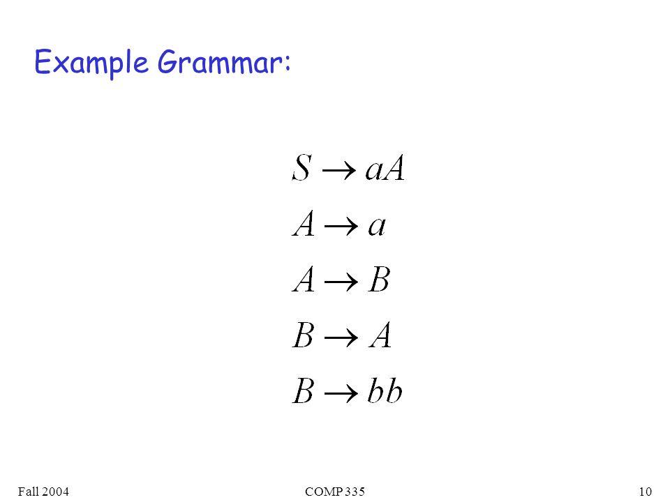 Fall 2004COMP 33510 Example Grammar:
