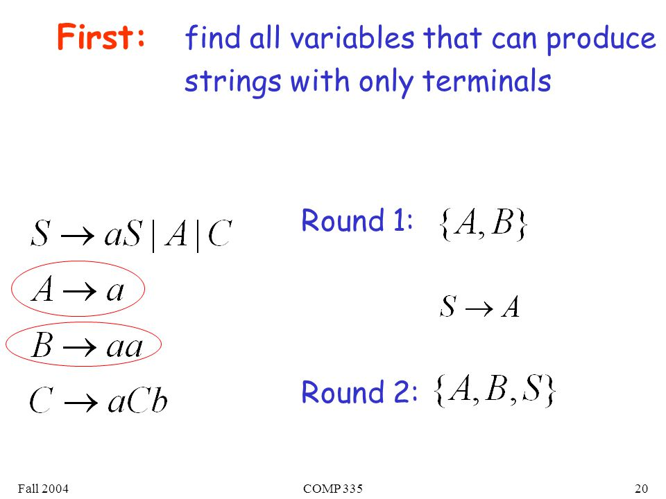 Fall 2004COMP 33520 First: find all variables that can produce strings with only terminals Round 1: Round 2: