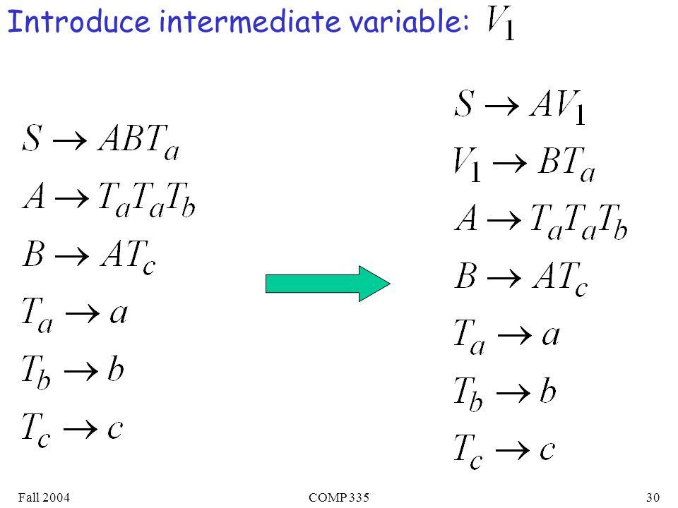 Fall 2004COMP 33530 Introduce intermediate variable: