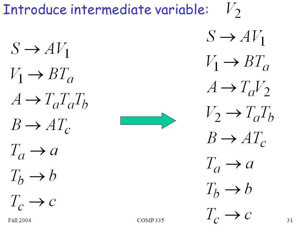 Fall 2004COMP 33531 Introduce intermediate variable: