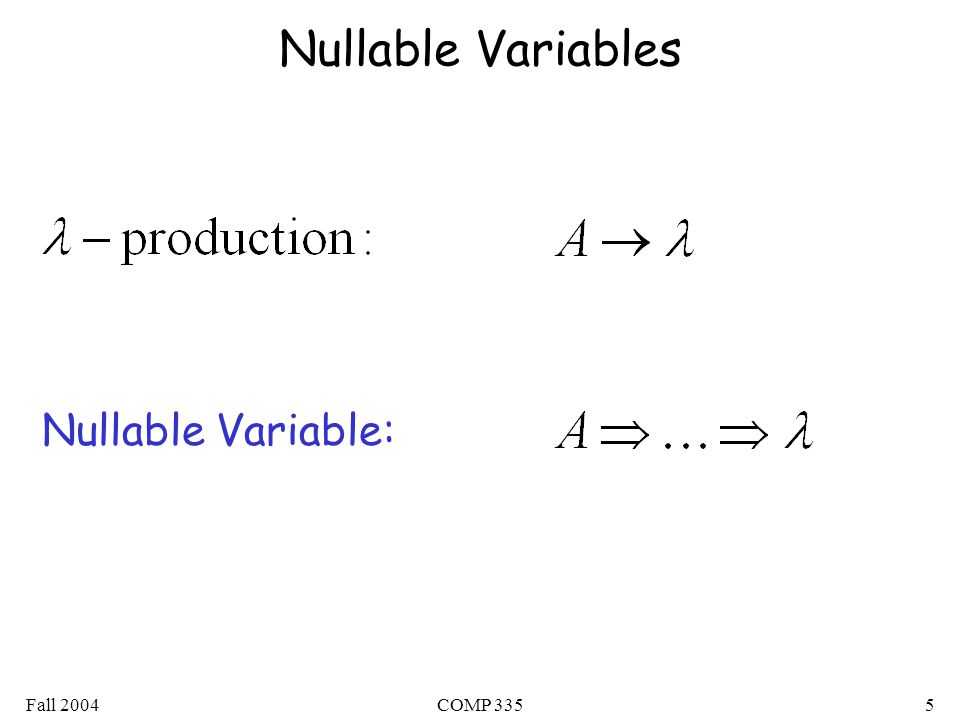 Fall 2004COMP 3355 Nullable Variables Nullable Variable: