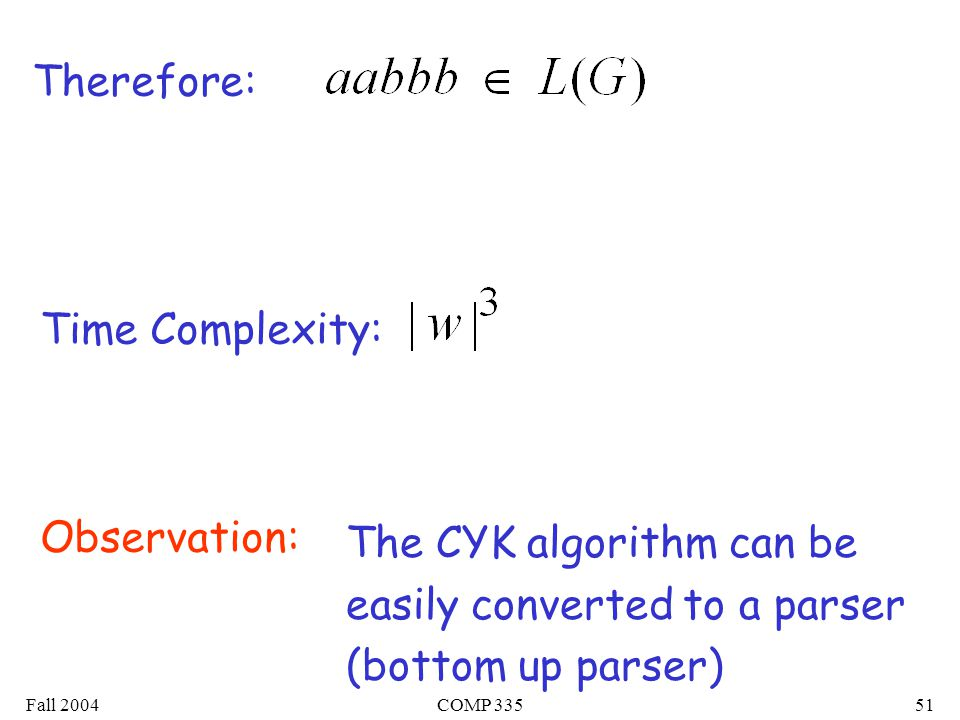 Fall 2004COMP 33551 Therefore: Time Complexity: The CYK algorithm can be easily converted to a parser (bottom up parser) Observation: