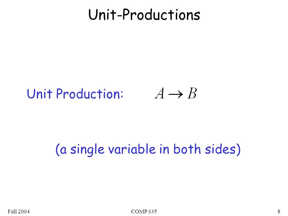 Fall 2004COMP 3358 Unit-Productions Unit Production: (a single variable in both sides)