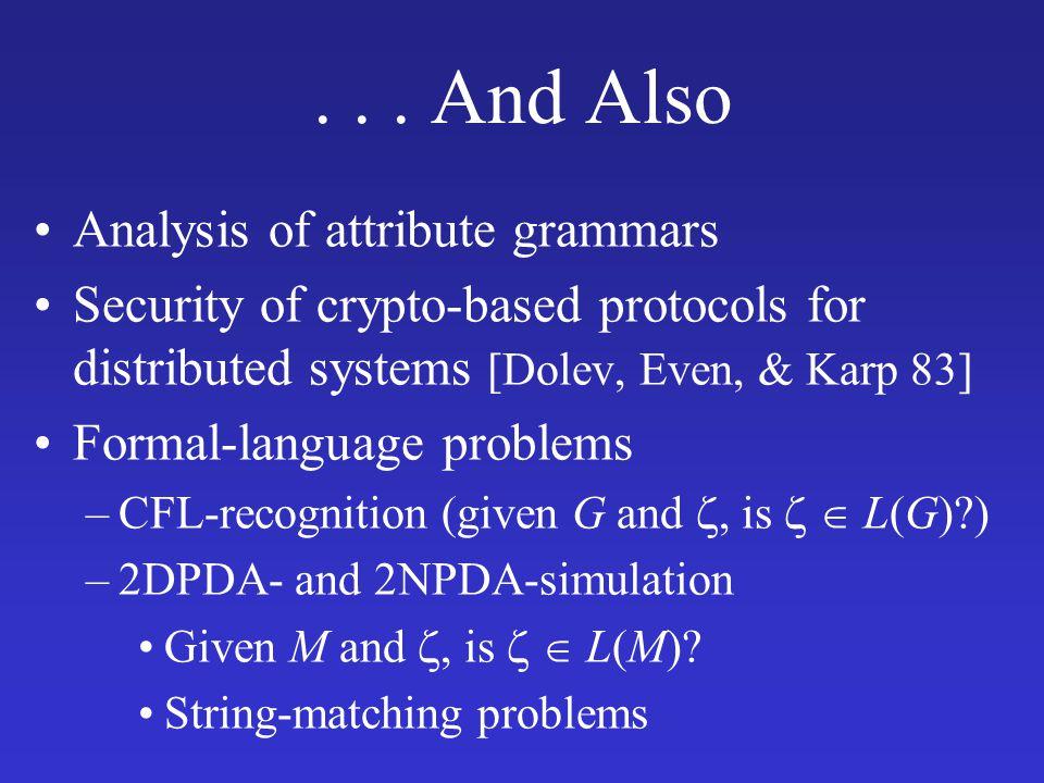 Unifying Conceptual Model for Dataflow-Analysis Literature Linear-time gen-kill [Hecht 76], [Kou 77] Path-constrained DFA [Holley & Rosen 81] Linear-time GMOD [Cooper & Kennedy 88] Flow-sensitive MOD [Callahan 88] Linear-time interprocedural gen-kill [Knoop & Steffen 93] Linear-time bidirectional gen-kill [Dhamdhere 94] Relationship to interprocedural DFA [Sharir & Pneuli 81], [Knoop & Steffen 92]