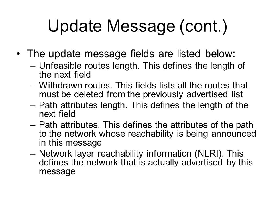 Update Message (cont.) The update message fields are listed below: –Unfeasible routes length.