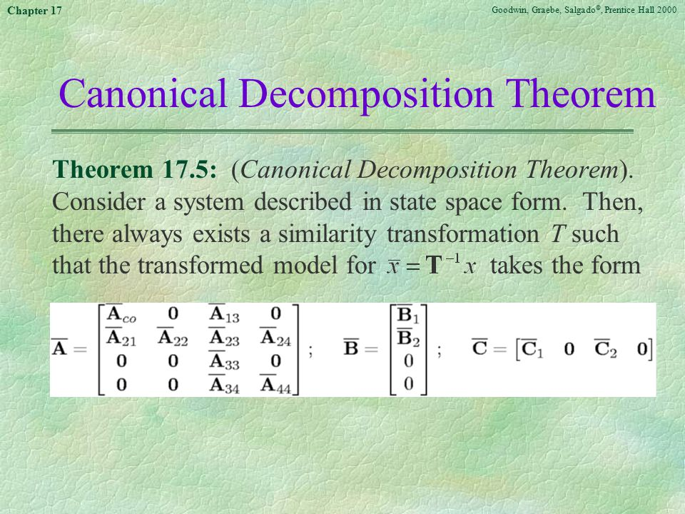 Goodwin, Graebe, Salgado ©, Prentice Hall 2000 Chapter 17 Canonical Decomposition Theorem Theorem 17.5: (Canonical Decomposition Theorem). Consider a