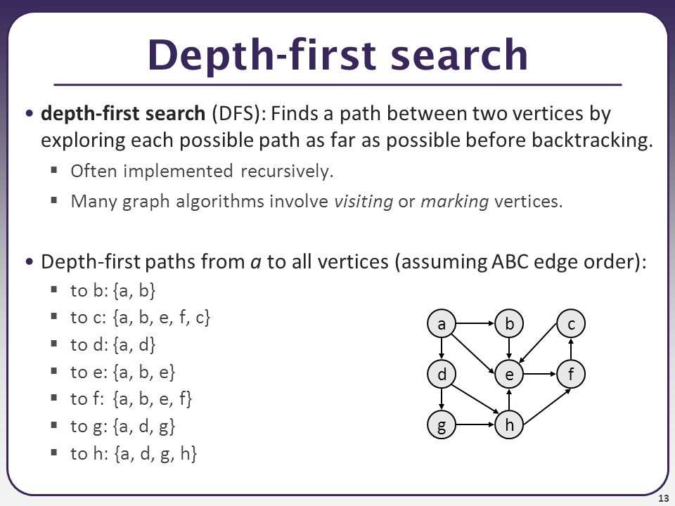 13 Depth-first search depth-first search (DFS): Finds a path between two vertices by exploring each possible path as far as possible before backtracki