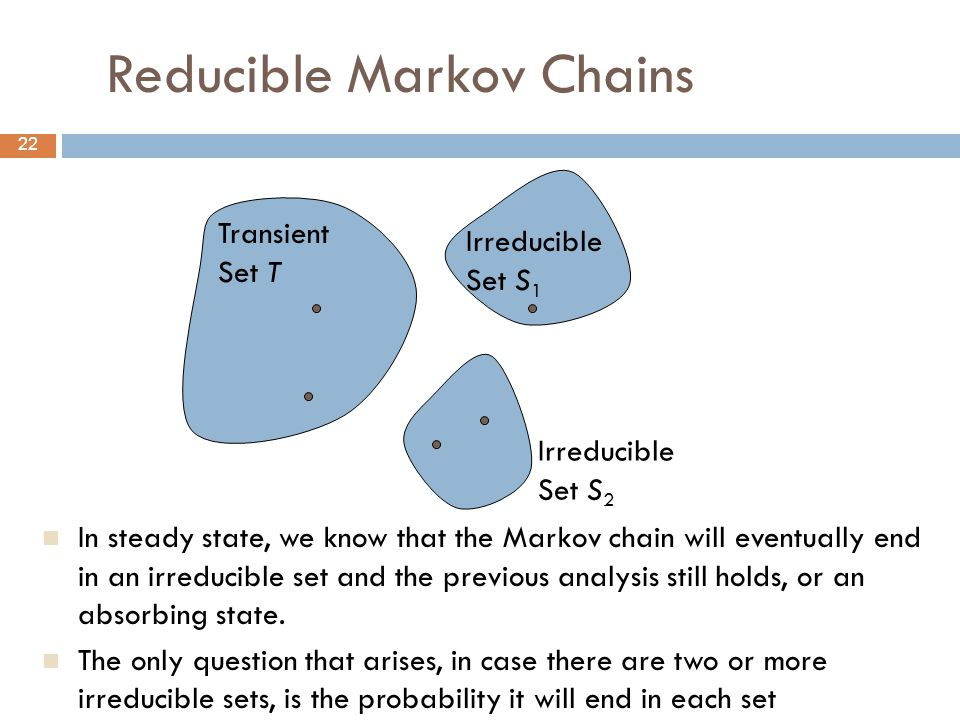22 Reducible Markov Chains In steady state, we know that the Markov chain will eventually end in an irreducible set and the previous analysis still holds, or an absorbing state.