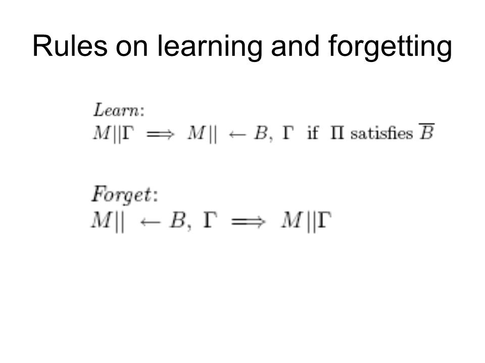 Rules on learning and forgetting