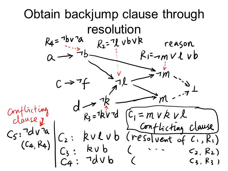 Obtain backjump clause through resolution