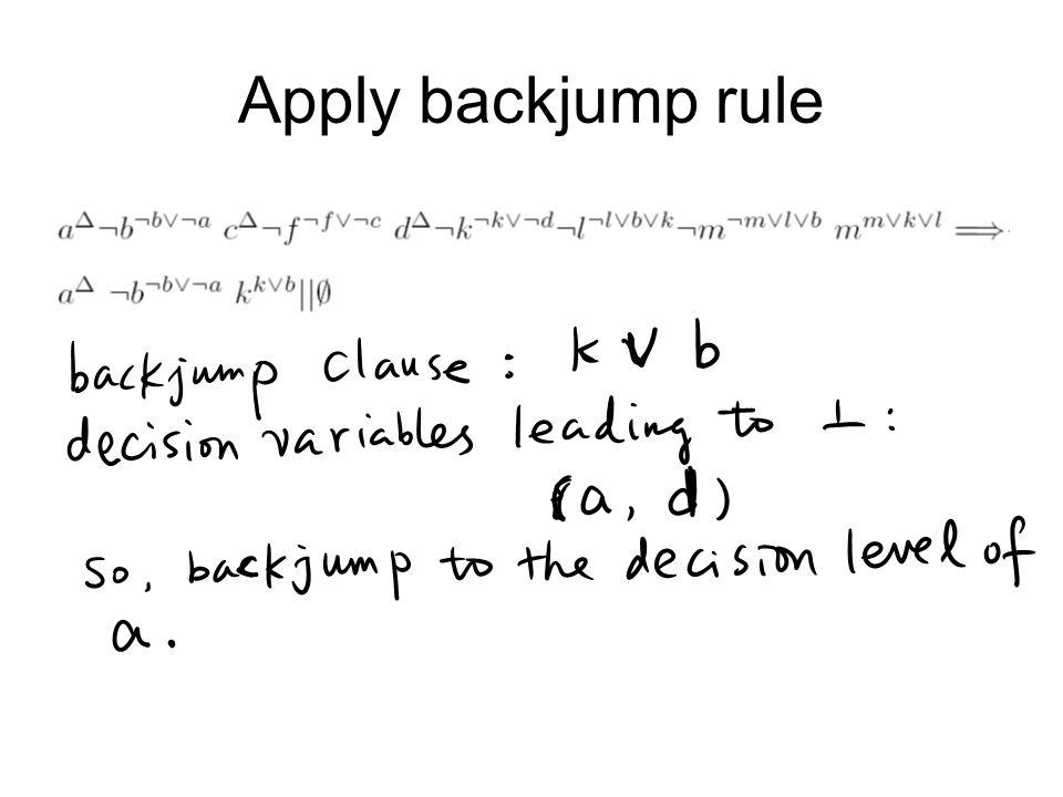 Apply backjump rule