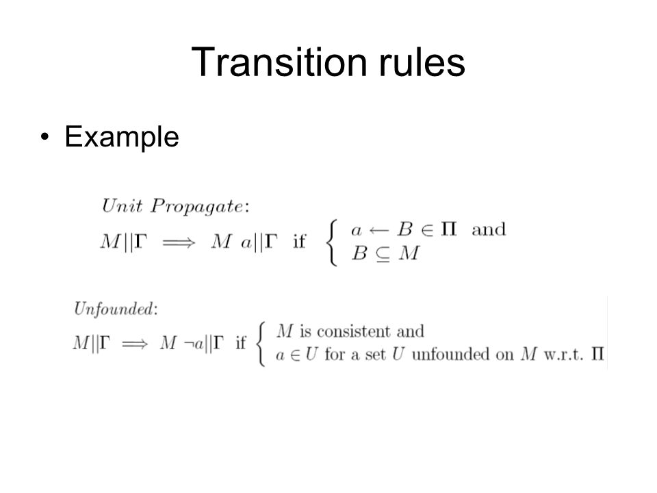 Transition rules Example