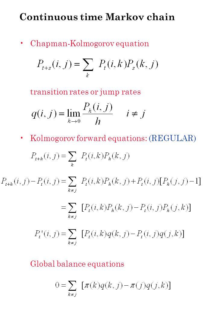 Simple queue (ctd)    j j+1   Equilibrium distribution:  <  Stationary measure; summable  eq.