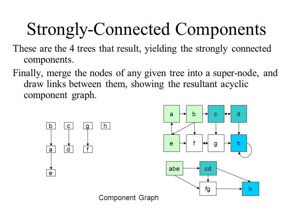 Strongly-Connected Components These are the 4 trees that result, yielding the strongly connected components.