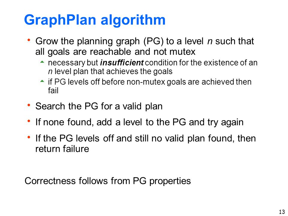 13 GraphPlan algorithm  Grow the planning graph (PG) to a level n such that all goals are reachable and not mutex  necessary but insufficient condition for the existence of an n level plan that achieves the goals  if PG levels off before non-mutex goals are achieved then fail  Search the PG for a valid plan  If none found, add a level to the PG and try again  If the PG levels off and still no valid plan found, then return failure Correctness follows from PG properties
