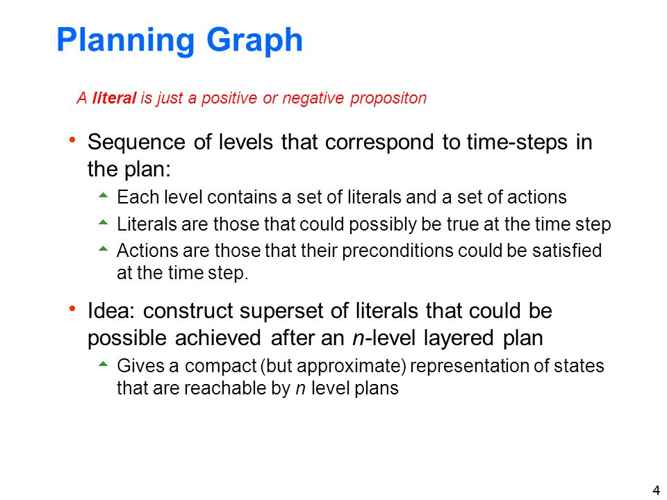 4 Planning Graph  Sequence of levels that correspond to time-steps in the plan:  Each level contains a set of literals and a set of actions  Literals are those that could possibly be true at the time step  Actions are those that their preconditions could be satisfied at the time step.