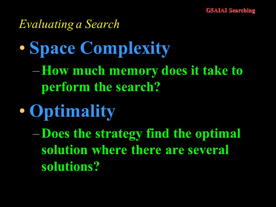G5AIAI Searching Evaluating a Search Completeness –Is the strategy guaranteed to find a solution? Time Complexity –How long does it take to find a sol