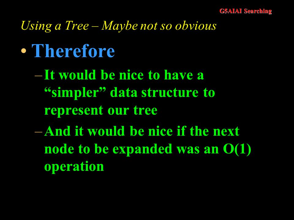 G5AIAI Searching Using a Tree – The Obvious Solution? But –It can be wasteful on space –It can be difficult the implement, particularly if there are v