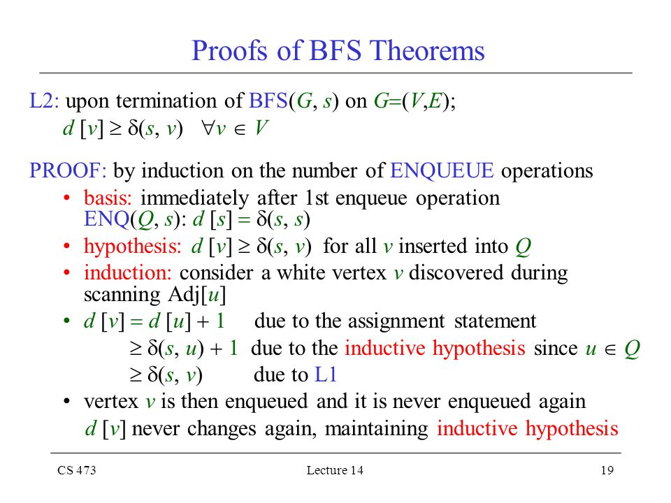 CS 473Lecture 1419 Proofs of BFS Theorems L2: upon termination of BFS(G, s) on G  (V,E); d [v]   (s, v)  v  V PROOF: by induction on the number o