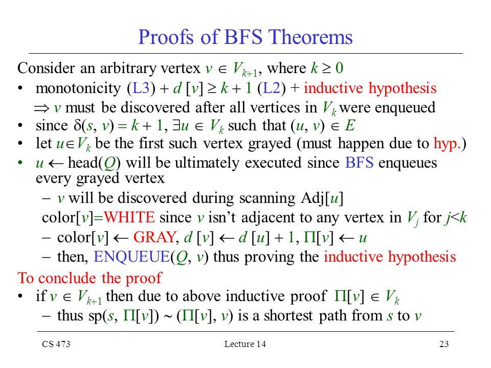 CS 473Lecture 1423 Proofs of BFS Theorems Consider an arbitrary vertex v  V k  1, where k  0 monotonicity (L3)  d [v]  k  1 (L2) + inductive hyp