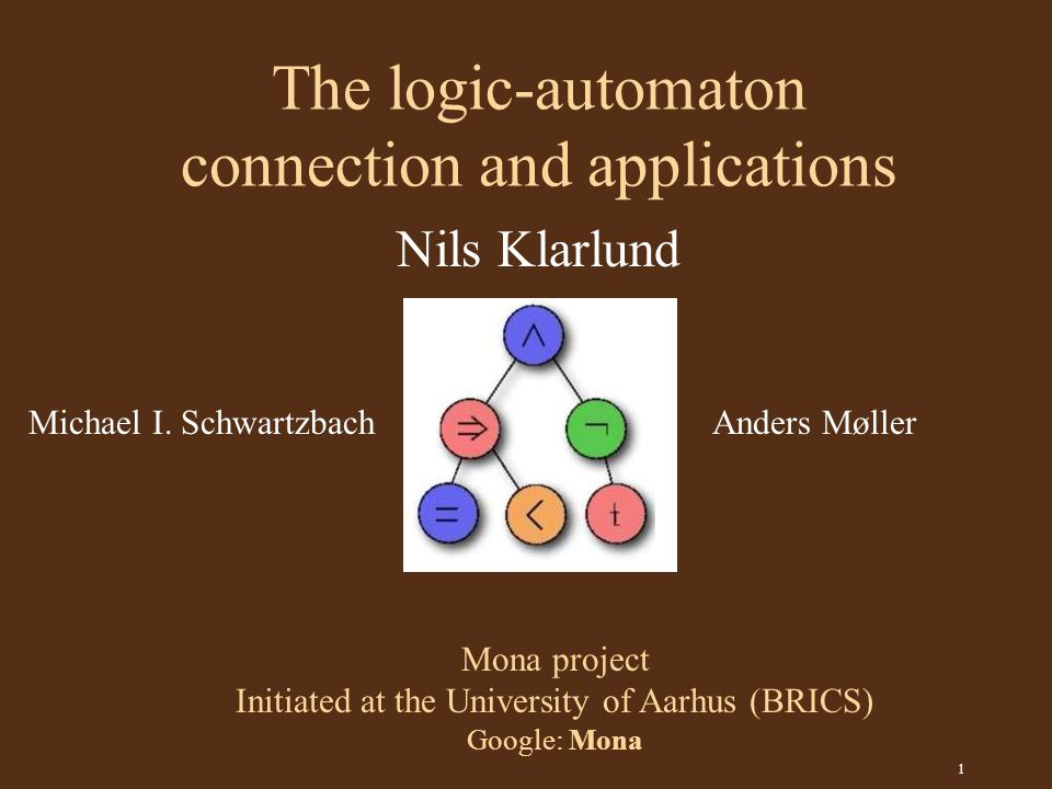 1 The logic-automaton connection and applications Mona project Initiated at the University of Aarhus (BRICS) Google: Mona Michael I.
