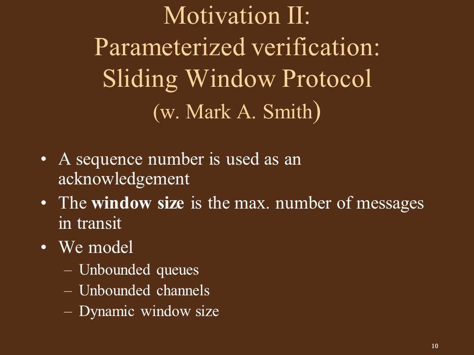 10 Motivation II: Parameterized verification: Sliding Window Protocol (w.