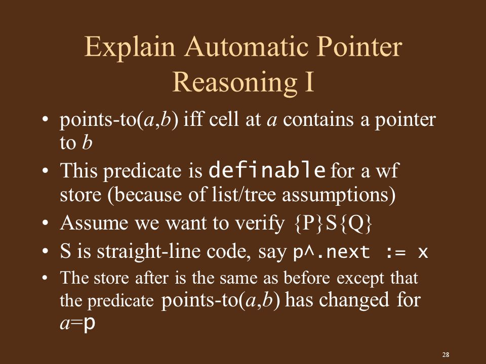 28 Explain Automatic Pointer Reasoning I points-to(a,b) iff cell at a contains a pointer to b This predicate is definable for a wf store (because of list/tree assumptions) Assume we want to verify {P}S{Q} S is straight-line code, say p^.next := x The store after is the same as before except that the predicate points-to(a,b) has changed for a= p