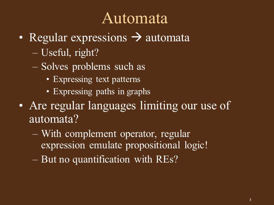 3 Automata Regular expressions  automata –Useful, right.