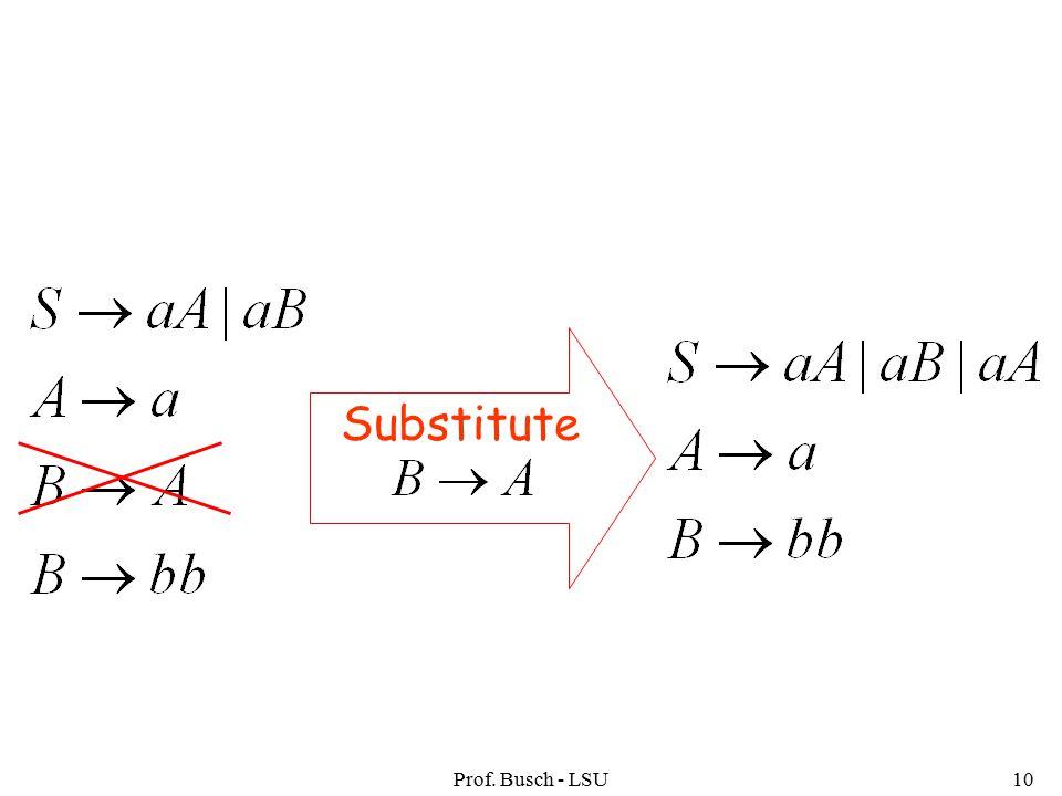 Prof. Busch - LSU10 Substitute