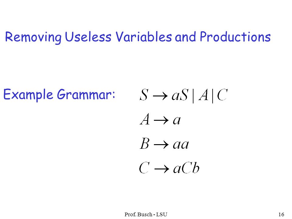 Prof. Busch - LSU16 Example Grammar: Removing Useless Variables and Productions