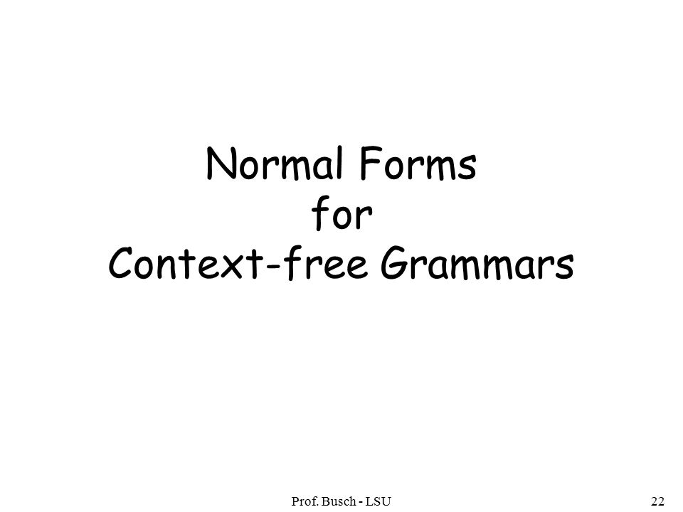 Prof. Busch - LSU22 Normal Forms for Context-free Grammars